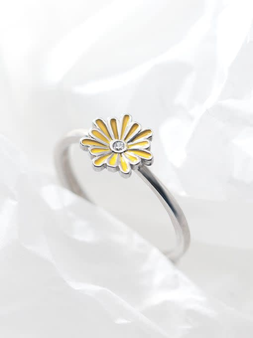 Rosh 925 Sterling Silver Enamel Flower Cute Free Size Band Ring 0