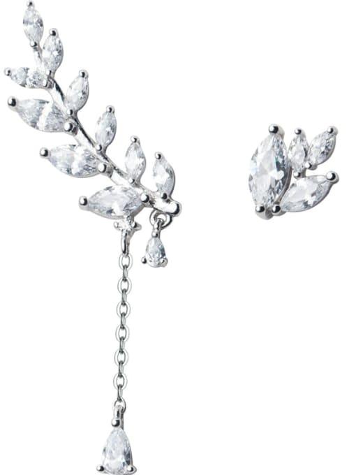 Rosh 925 Sterling Silver Cubic Zirconia Asymmetry Leaf Dainty Drop Earring 0