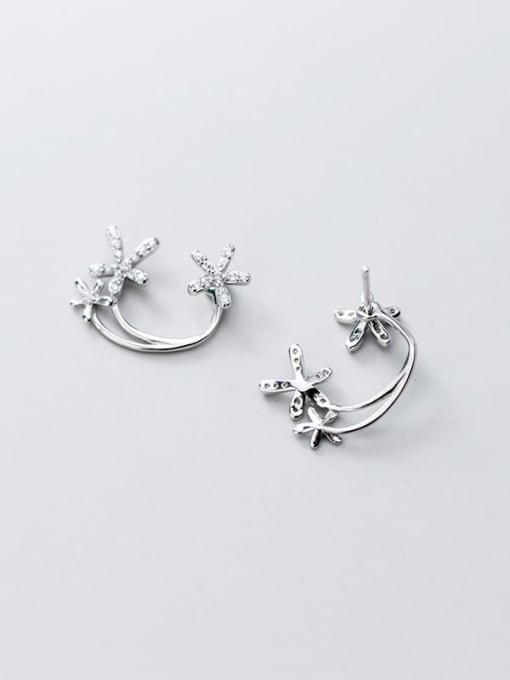 Rosh 925 Sterling Silver simple diamond multi flower Dainty Stud Earring 2