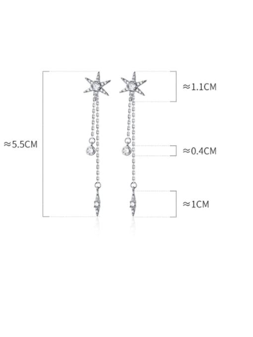 Rosh 925 Sterling Silver Cubic Zirconia  Star tassel Minimalist Threader Earring 4