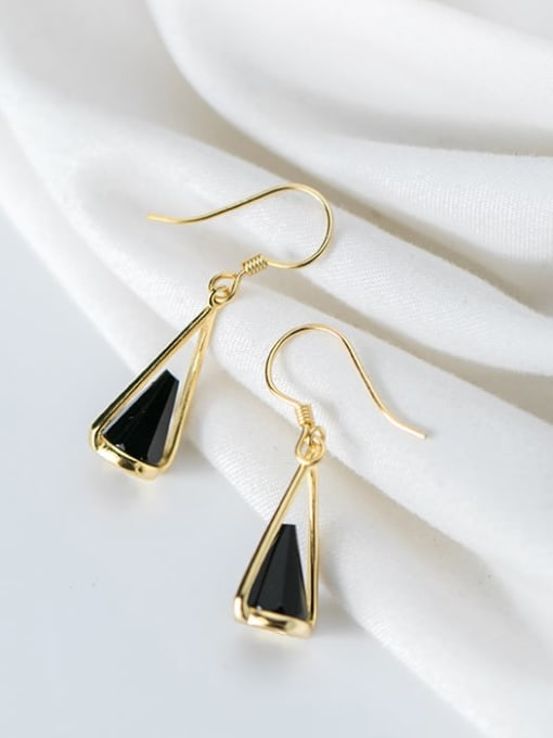 Rosh 925 Sterling Silver Black Acrylic Geometric Cone Trend Hook Earring 0