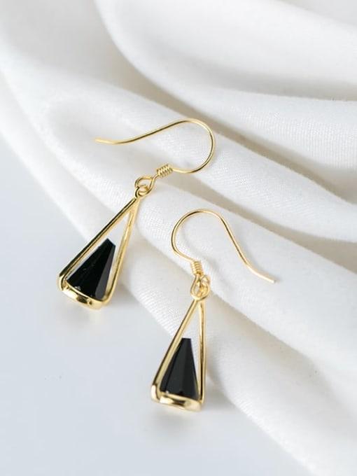 Rosh 925 Sterling Silver Black Acrylic Geometric Cone Trend Hook Earring