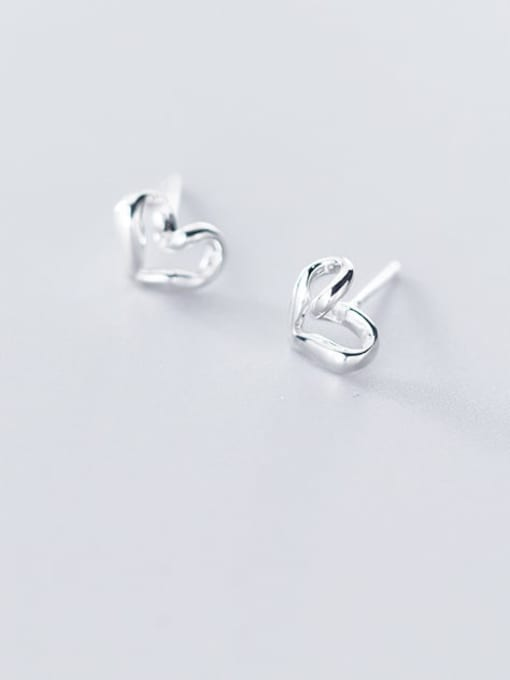 Rosh 925 Sterling Silver Hollow Heart Minimalist Stud Earring 1