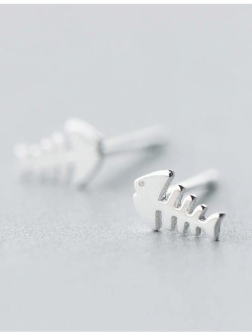 Rosh 925 Sterling Silver  Minimalist Fish Bone Stud Earring 2