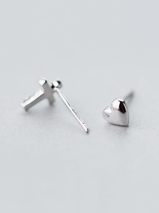 Rosh 925 Sterling Silver Rhinestone Asymmetry cross Heart Minimalist Stud Earring 2