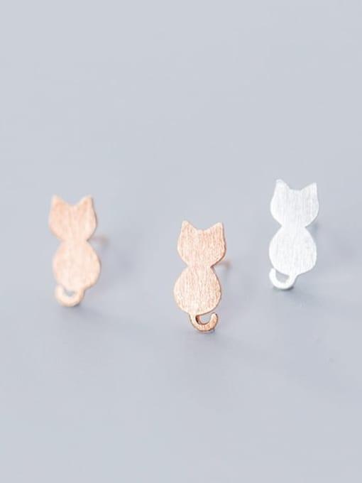 Rosh 925 Sterling Silver Cat Cute Stud Earring 1