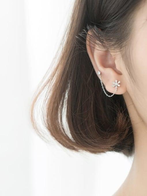 Rosh 925 Sterling Silver Cubic Zirconia  Flower Minimalist Threader Earring 2