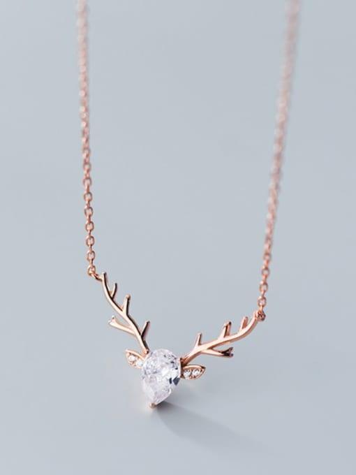 Rosh 925 Sterling Silver  Minimalist  Elk pattern horn pendant Necklace 2
