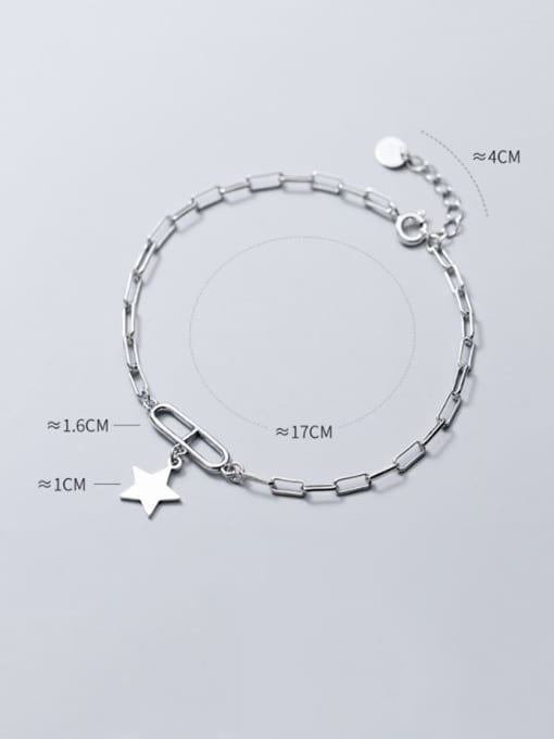 Rosh 925 Sterling Silver Personality oval buckle five-pointed star  Link Bracelet 3
