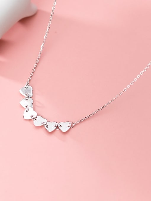 Rosh 925 Sterling Silver Simple glossy heart Necklace
