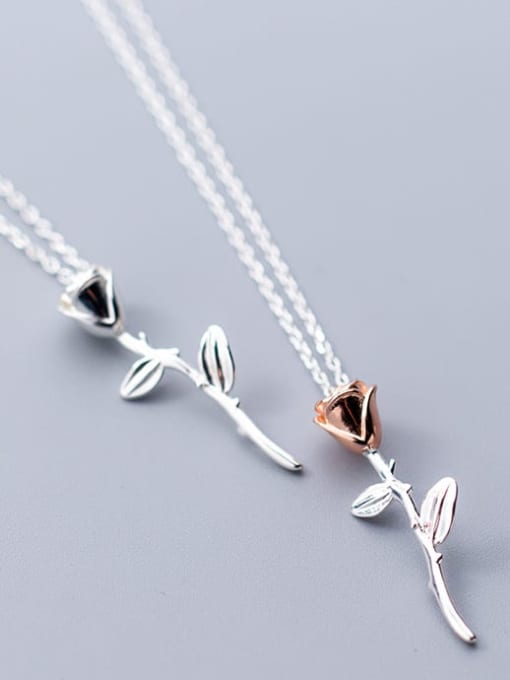 Rosh 925 Sterling Silver Minimalist two-color rose flower pendant Necklace 2