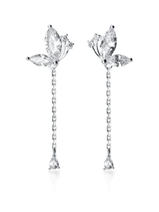Rosh 925 Sterling Silver Cubic Zirconia Butterfly Tassel Dainty Drop Earring 0