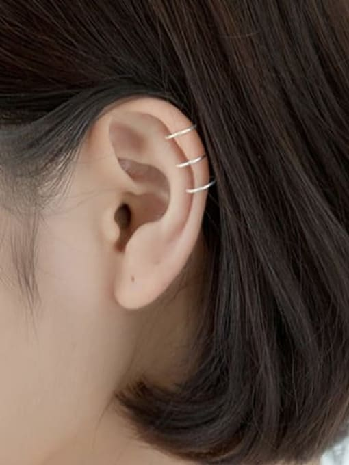 Rosh 925 Sterling Silver  Minimalist Three-layer  lines  Clip Earring 2