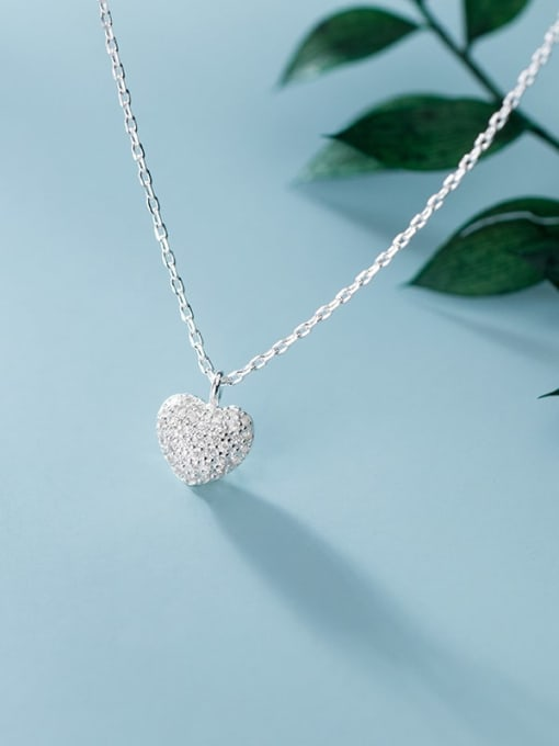 Rosh 925 Sterling Silver Minimalist  Simple Fashion Full Diamond Heart Pendant Necklace 2