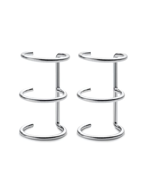 Rosh 925 Sterling Silver  Minimalist Three-layer  lines  Clip Earring 4
