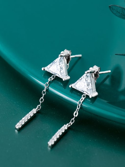 Rosh 925 Sterling Silver Cubic Zirconia  Triangle Minimalist Threader Earring 1