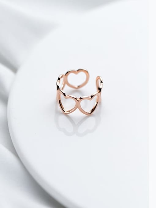 Rosh 925 Sterling Silver Minimalist Hollow Heart  Free Size Ring 2