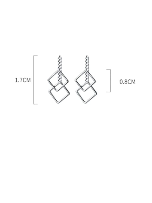 Rosh 925 Sterling Silver Hollow Square Minimalist Drop Earring 3