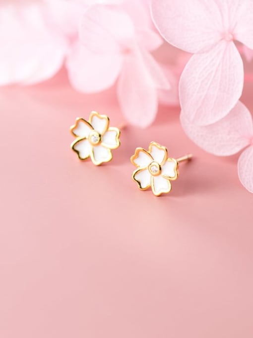 Rosh 925 Sterling Silver Shell White Flower Minimalist Stud Earring 3