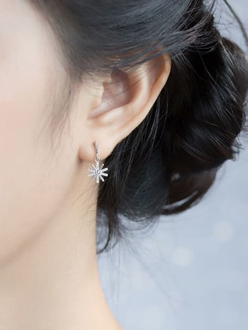 Rosh 925 Sterling Silver Cubic Zirconia Flower Minimalist Drop Earring 1