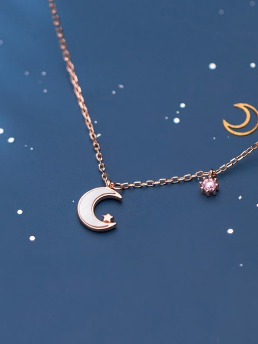 Rosh 925 sterling silver shell  Simple Moon pendant necklace 1