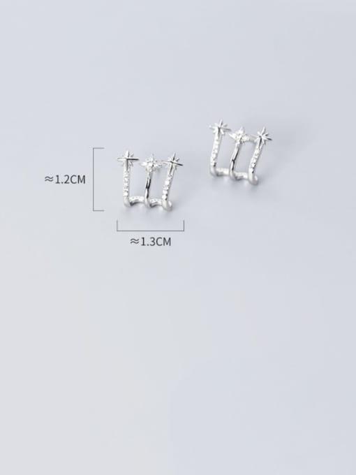 Rosh 925 Sterling Silver Cubic Zirconia  Irregular Minimalist Stud Earring 3