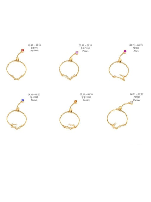 Rosh 925 Sterling Silver Cubic Zirconia twelve  Constellation Minimalist Band Ring 0