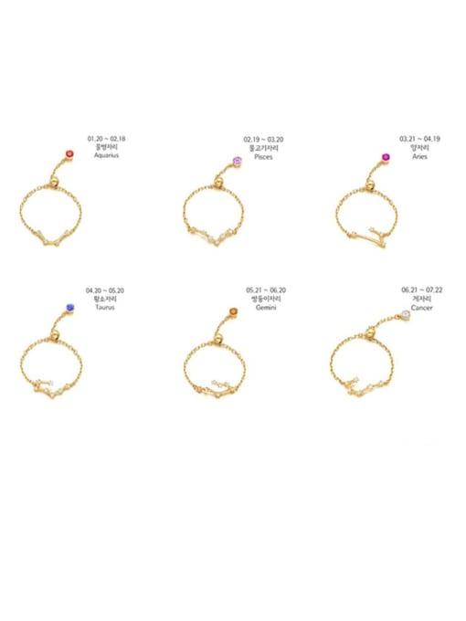 Rosh 925 Sterling Silver Cubic Zirconia twelve  Constellation Minimalist Band Ring