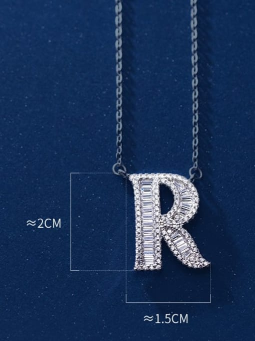 Letter R 925 Sterling Silver Simple Fashion full diamond letters pendant  Necklace