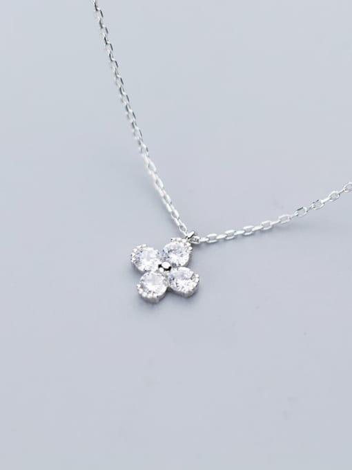 Rosh 925 Sterling Silver Minimalist Cubic Zirconia  Flower  Necklace 3