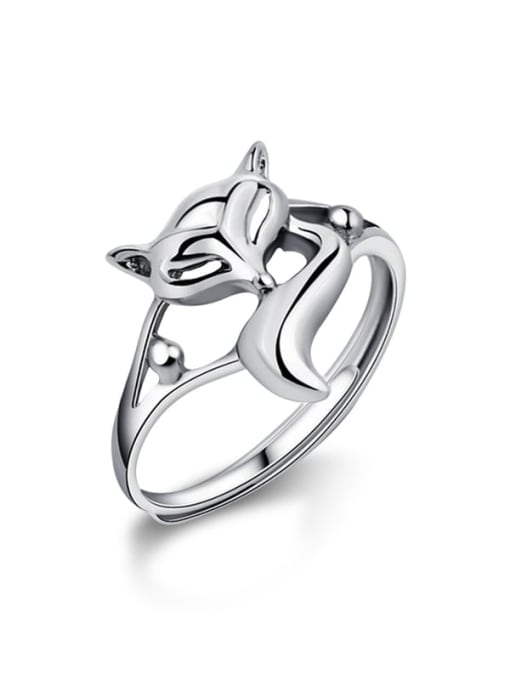 Rosh 925 Sterling Silver Hollow Fox Cute Free Size Ring 2