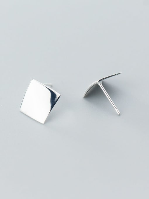 Rosh 925 Sterling Silver Smooth Geometric Minimalist Stud Earring 2