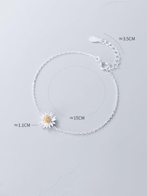 Rosh 925 Sterling Silver Flower Minimalist Link Bracelet 2