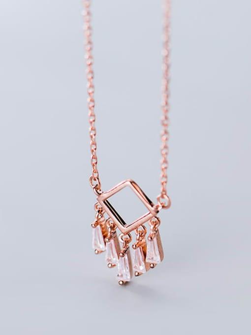 Rosh 925 Sterling Silver Cubic Zirconia  Minimalist Fashion Geometry   Tassel Necklace 0
