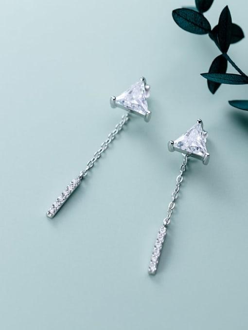 Rosh 925 Sterling Silver Cubic Zirconia  Triangle Minimalist Threader Earring 0