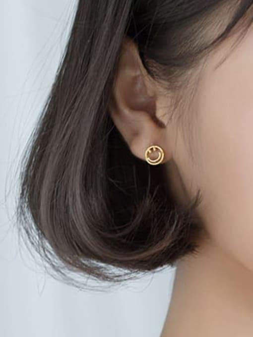 Rosh 925 Sterling Silver  Minimalist  Simple golden smiley Stud Earring 1