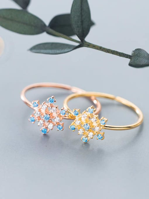 Rosh 925 Sterling Silver Cubic Zirconia Multi Color Flower Minimalist Band Ring 3