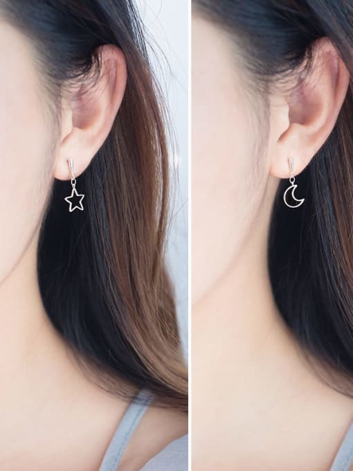 Rosh 925 Sterling Silver  Minimalist  Asymmetric Star Moon Drop Earring 1