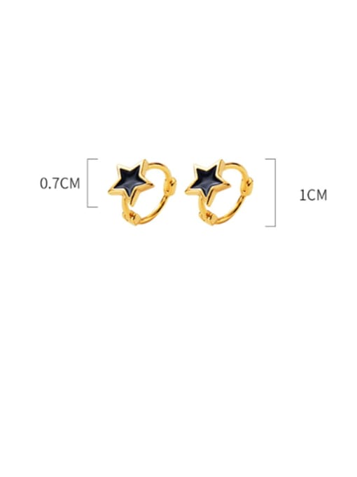 Rosh 925 Sterling Silver Black Enamel Star Minimalist Huggie Earring 3
