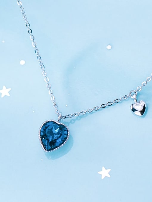Rosh 925 Sterling Silver Blue Swarovski Crystal Heart-shaped pendant  Necklace