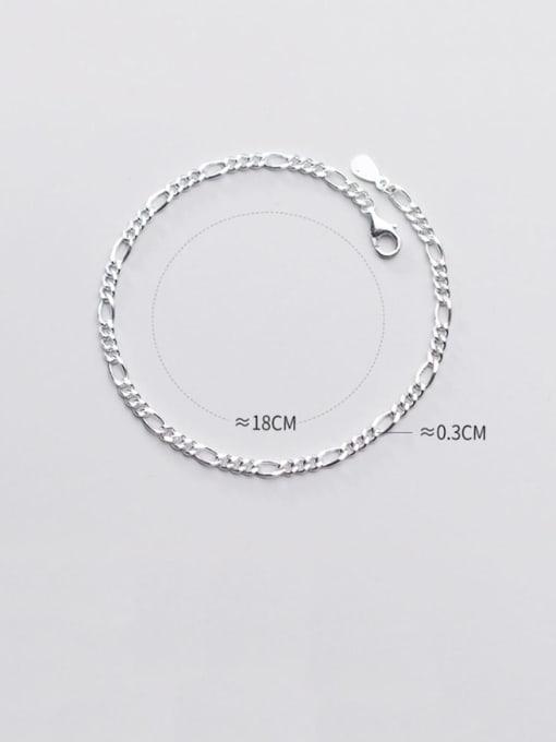 Rosh 925 Sterling Silver Minimalist Fashion wave thick chain geometric bracelet 3