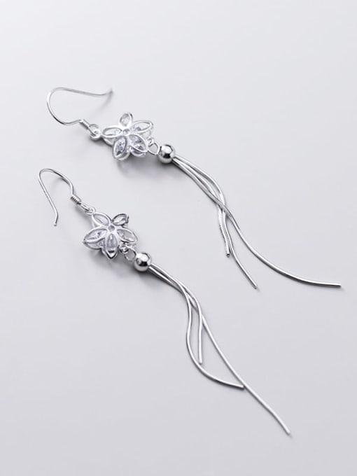 Rosh 925 Sterling Silver Cubic Zirconia White Tassel Minimalist Threader Earring 3