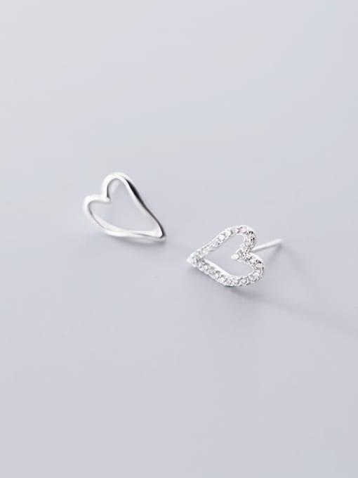 Rosh 925 Sterling Silver Simple asymmetric Hollow Heart Stud Earring 1