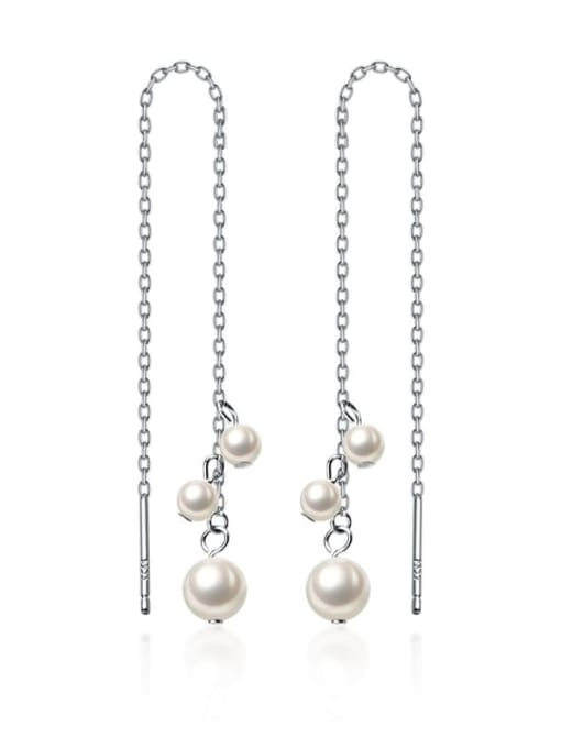 Rosh 925 Sterling Silver Imitation Pearl White Tassel Trend Threader Earring