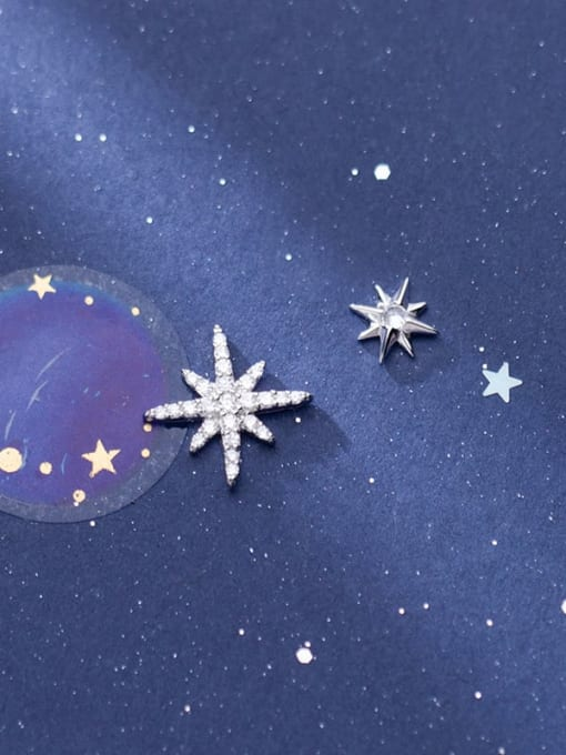 Rosh 925 Sterling Silver Cubic Zirconia  Asymmetry Star Trend Stud Earring 0