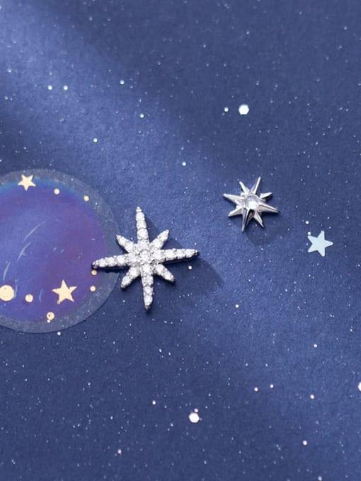 Rosh 925 Sterling Silver Cubic Zirconia  Asymmetry Star Trend Stud Earring