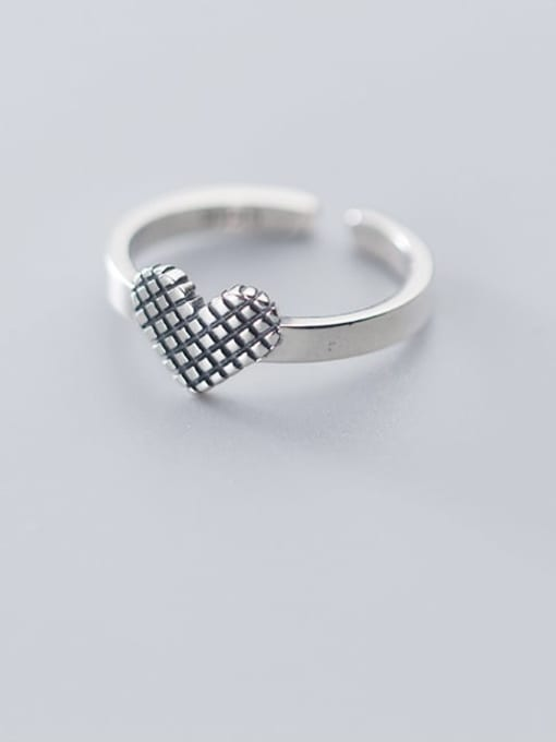 Rosh 925 sterling silver vintage  heart  free size  ring 0