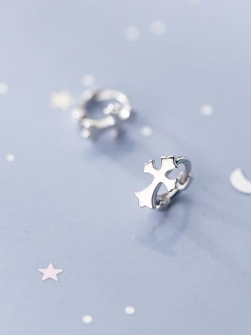 Rosh 925 Sterling Silver  Minimalist Smooth Cross Huggie Earring 1