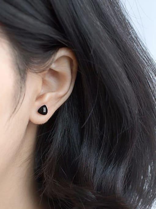 Rosh 925 Sterling Silver Cubic Zirconia Black Geometric Minimalist Stud Earring 2