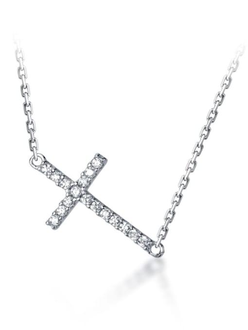 Rosh 925 Sterling Silver Cubic Zirconia Cross Dainty Regligious Necklace 0